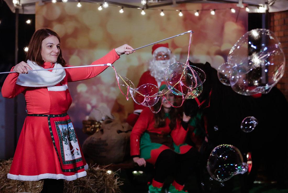 bolle di sapone evento in store di Natale